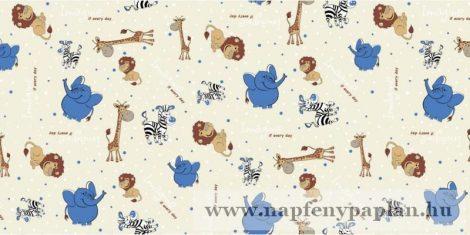 Krepp kék elefántos gyermek ágyneműhuzat garnitúra (2 részes)